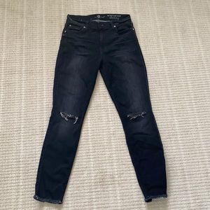 7 for all mankind distressed jeans in black
